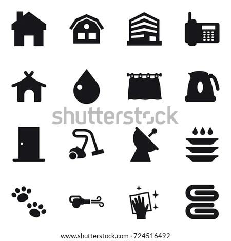 16 Vector Icon Set Home House Stock Vector 724516492