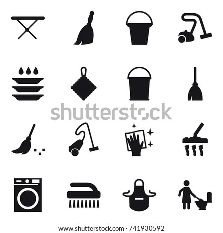 Vector Set Stylized Cleaning Tools Icons เวกเตอร์สต็อก