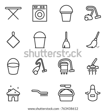 Cleaning Equipment Set Housekeeping Tools Handdrawn Stock