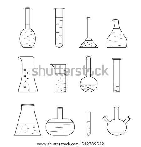 Chemical Test Tubes Icons Illustration Vector Stock Vector