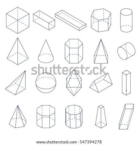 Set 3d Geometric Shapes Isometric Views Stock Vector