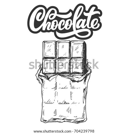 Hand Drawn Chocolate Bar Custom Lettering Stock Vector