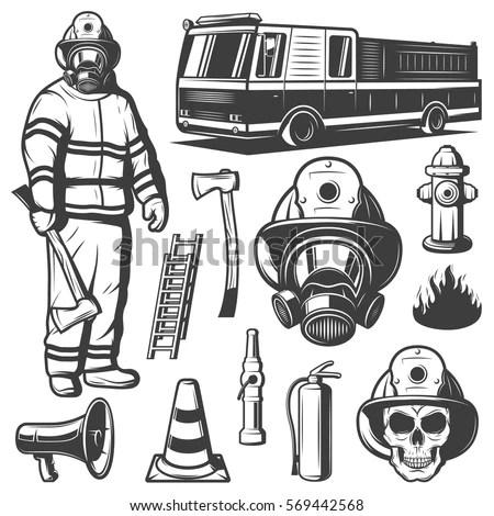 Firefighting Vintage Elements Set Fireman Uniform Stock