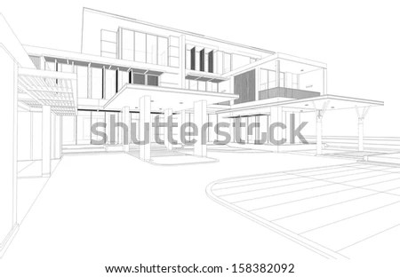 Wireframe Drawing Tropical Modern House 3d Stock