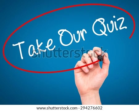 Man Hand writing Take Our Quiz with black marker on visual screen. Isolated on blue. Business, technology, internet concept. Stock Photo - stock photo