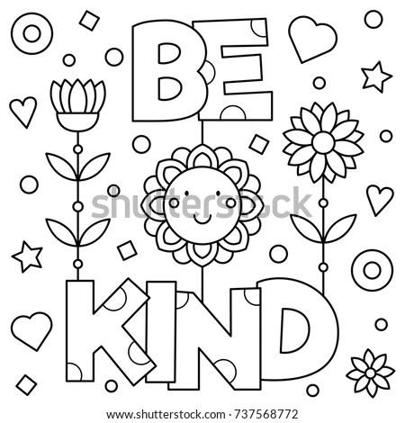 Be Kind Coloring Page Vector Illustration Stock Vector