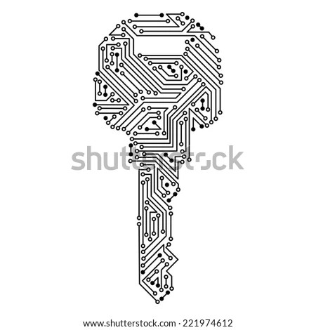 Techno Key Circuit Board Pattern Isolated Stock