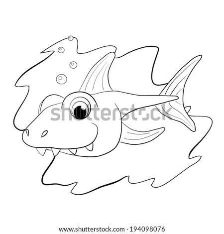 Fun Cartoon Fish Isolated On White Stock Illustration