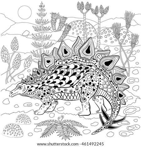 Stegosaurus Prehistoric Reptile Nature Antistress Coloring