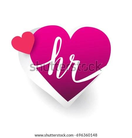 Initial Logo Letter HR Heart Shape Stock Vector 696360148 - Shutterstock