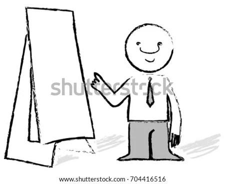 Doodle Stick Figure Businessman Holding Lightbulb Stock