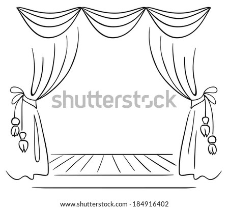 Theater Stage Sketch Stock Illustration 184916402