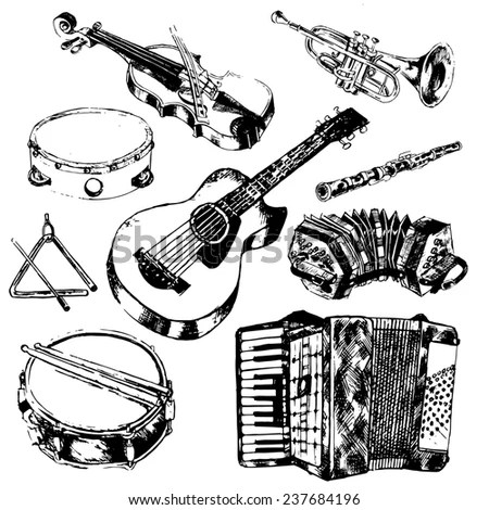 Musical Instruments Sketch Hand Drawn Vector Stock Vector