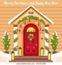 New Year Card Front House Door Stock Vector 501315208 ...