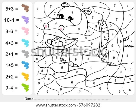 Dinosaur Painting Color By Numbers Addition Stock Vector