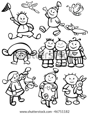 Silhouettes Kid Faces Christmas Design Stock Vector