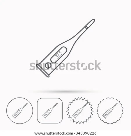 Electronic Thermometer Icon Measurement Tool Sign Stock