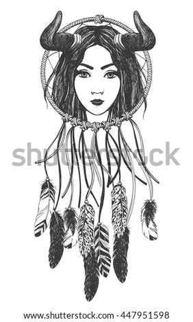 Woman Dreamcatcher Feathers Horns Native American Stock