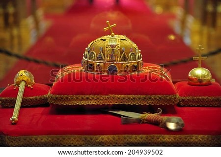 Luxury Crown Jewelry On Red Satin Stock Photo 537734683