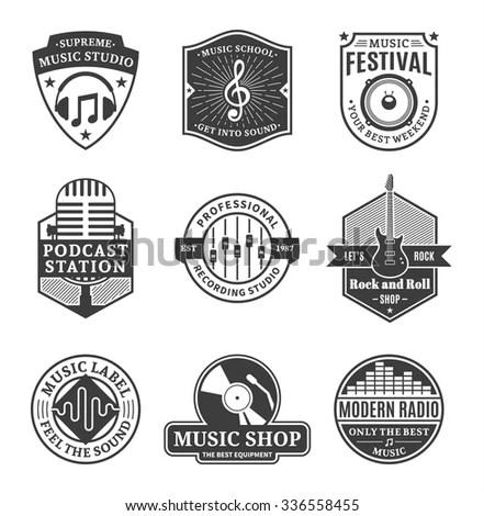 Set Vector Music Logo Music Studio Stock Vector 336558455