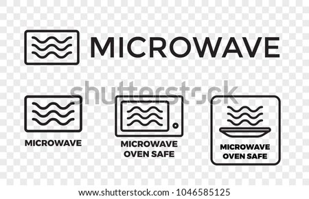 Microwave Oven Safe Icon Templates Set เวกเตอร์สต็อก