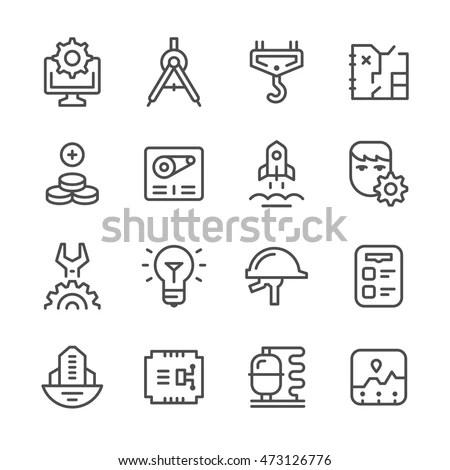 Flat Line Icons Set Creative Design Stock Vector 200254469