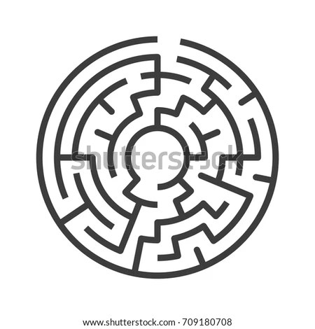 Circular Maze Isolated On White Background Stock Vector