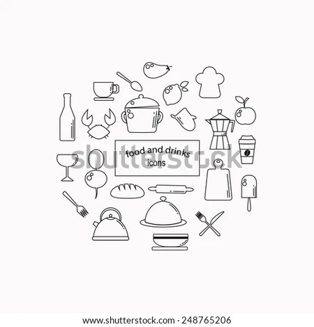 Cooking Foods Kitchen Outline Icons Set Stock Vector