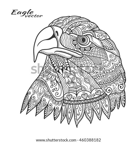 Eagle Bird Ethnic Floral Doodle Pattern Stock Vector