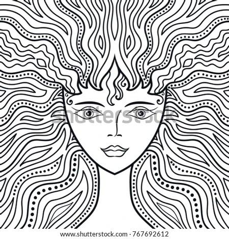 Vector Decorative Medusa Face Stylized Fan Vectores En
