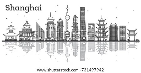Outline Shanghai Skyline Modern Buildings Reflections