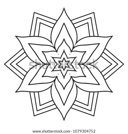 Easy Simple Mandala Coloring Pages Doodle Stock