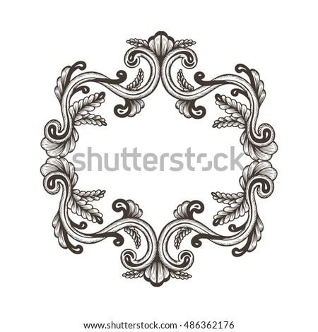 Baroque Rococo Mirror Frame Decor Vector Stock Vector