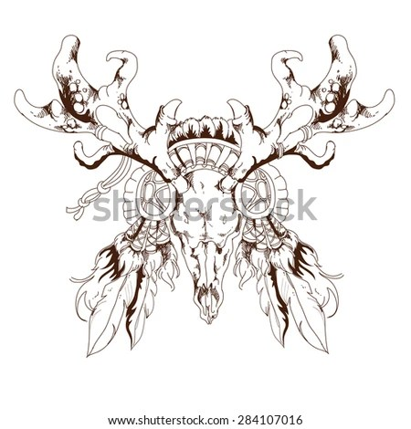 Sketch Deer Skull Tribal Arrows Feathers Stock Vector