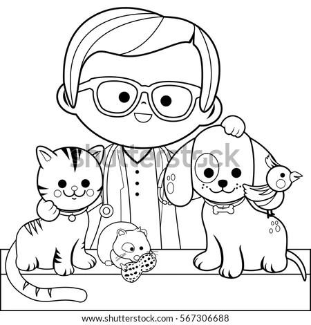 Veterinary Physician Pets Cat Dog Hamster เวกเตอร์สต็อก