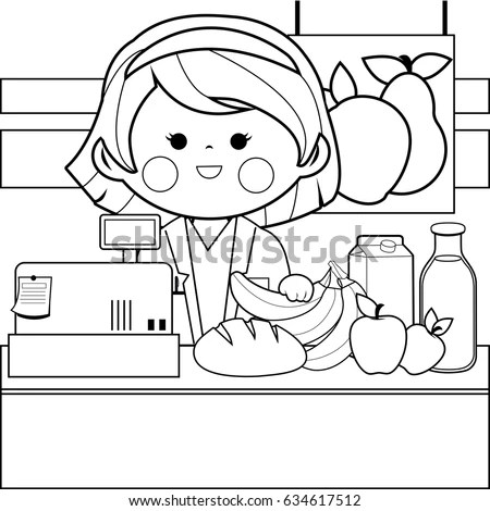 Grocery Store Employee Counter Black White Stock Vector