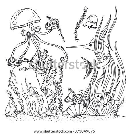 Hidden Objects Sea World Location Find Stock Vector