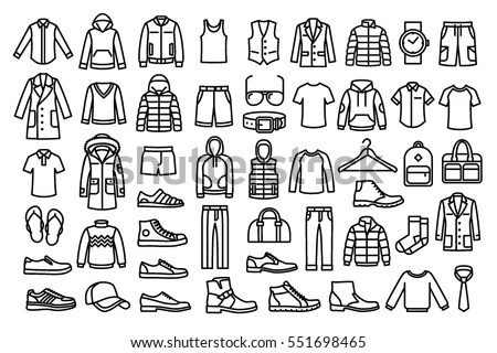 Set Man Clothes Icons Thin Line Stock Vector 551698465