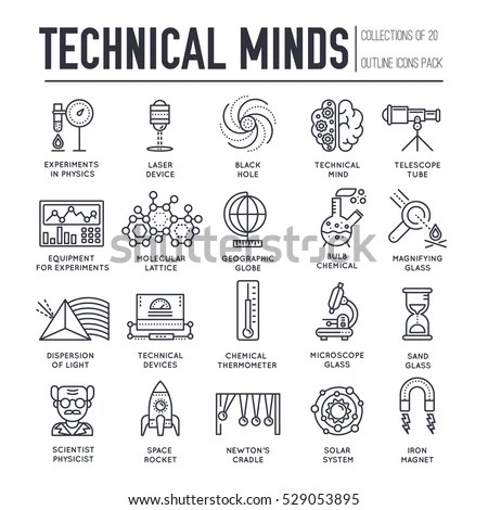 Technical Minds Collection Thin Line Icon Stock Vector