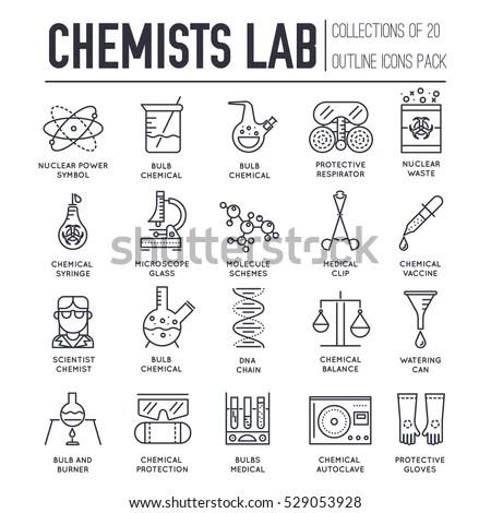 Biohazard Chemists Chemistry Lab Thin Line Stock Vector