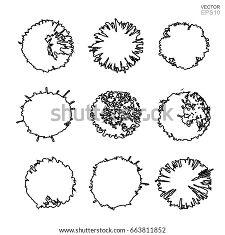 Vector Set Tree Plan Landscape Design Stock Vector