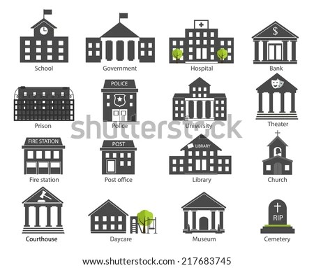Black White Government Buildings Icons Set Stock Vector