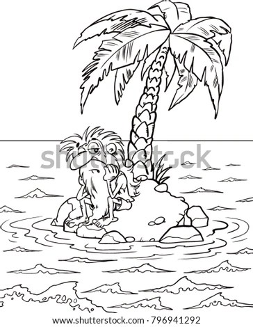 Lonely Man On Deserted Island Black Stock Vector 796941292