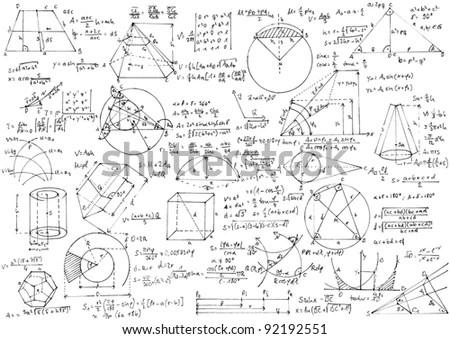 Hintergrund mit handgeschrieben Geometrie-Formeln und