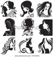woman hair silhouette stock