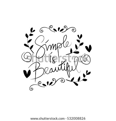 Simple Handwritten Pointed Pen Calligraphy Cursive Stock