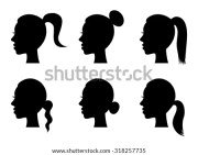 set black silhouette girl head