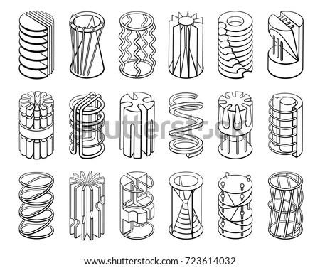 Set 3d Geometric Shapes Cylinder Designs Stock Vector