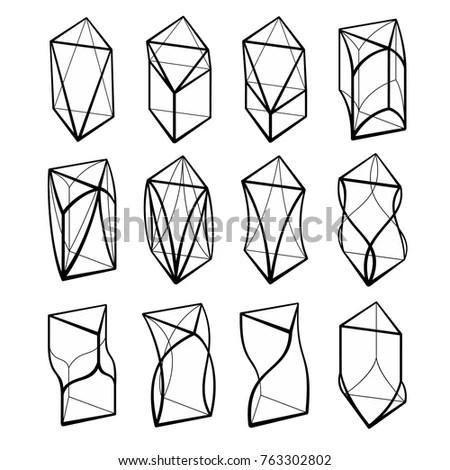 Set Geometric Crystals Geometric Shapes Trendy Stock