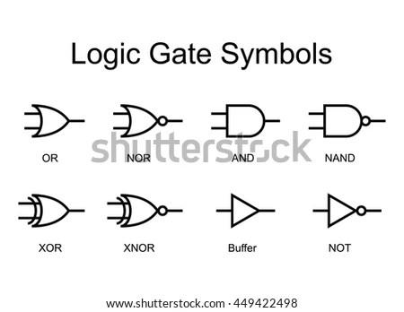 Digital Logic Gate Symbols Black Isolated Stock Vector
